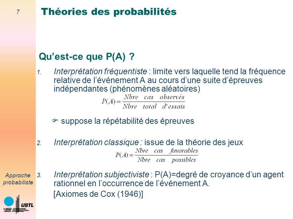 37 Approche probabiliste 37 Conséquence La théorie des probabilités nest pas suffisamment générale pour modéliser toutes les formes dincertitude.