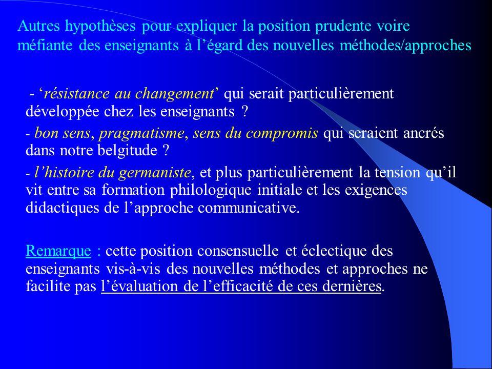 Lhistoire des méthodes de lenseignement des langues étrangères semble être animée par un mouvement de balancier. Une réforme chasse lautre en se posit