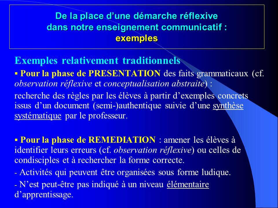 « Je ne remets donc pas en cause les bases de la méthode communicative, mais bien dune méthode communicative qui mettrait la grammaire entre parenthès