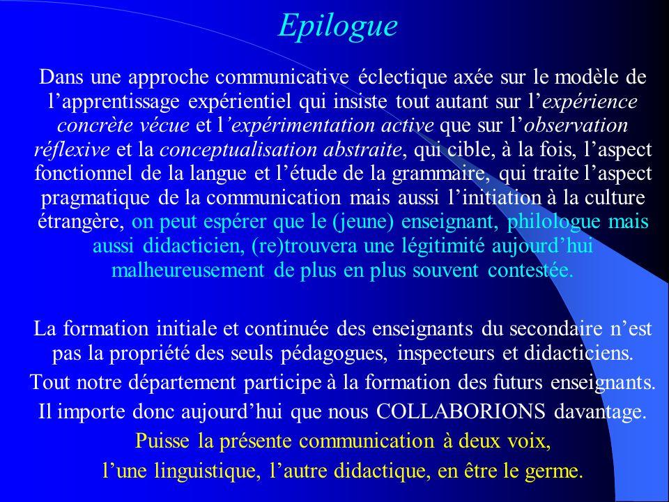 V. Synthèse et conclusions Lapproche communicative a représenté UN PROGRES indubitable par rapport à la méthode audiovisuelle ou la méthode indirecte
