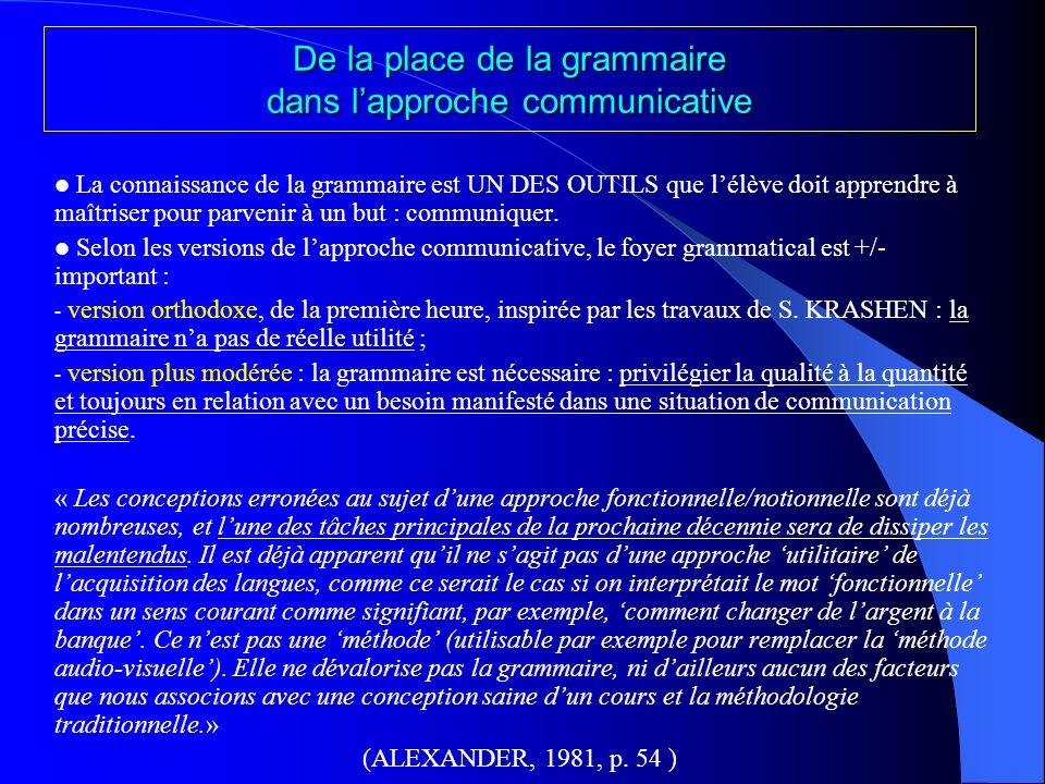 De la place de la grammaire dans lapproche communicative La connaissance de la grammaire est UN DES OUTILS que lélève doit apprendre à maîtriser pour parvenir à un but : communiquer.
