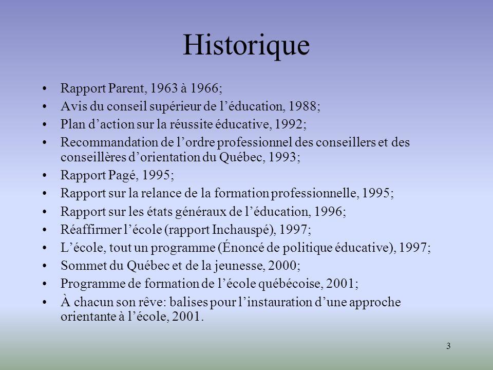 3 Historique Rapport Parent, 1963 à 1966; Avis du conseil supérieur de léducation, 1988; Plan daction sur la réussite éducative, 1992; Recommandation de lordre professionnel des conseillers et des conseillères dorientation du Québec, 1993; Rapport Pagé, 1995; Rapport sur la relance de la formation professionnelle, 1995; Rapport sur les états généraux de léducation, 1996; Réaffirmer lécole (rapport Inchauspé), 1997; Lécole, tout un programme (Énoncé de politique éducative), 1997; Sommet du Québec et de la jeunesse, 2000; Programme de formation de lécole québécoise, 2001; À chacun son rêve: balises pour linstauration dune approche orientante à lécole, 2001.