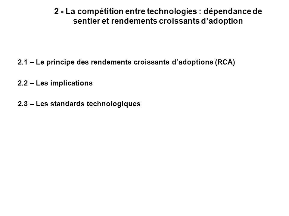 2 - La compétition entre technologies : dépendance de sentier et rendements croissants dadoption 2.1 – Le principe des rendements croissants dadoptions (RCA) 2.2 – Les implications 2.3 – Les standards technologiques