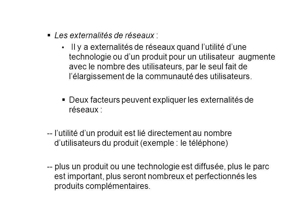 Les externalités de réseaux : Il y a externalités de réseaux quand lutilité dune technologie ou dun produit pour un utilisateur augmente avec le nombr
