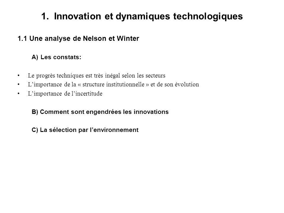 1. Innovation et dynamiques technologiques 1.1 Une analyse de Nelson et Winter A)Les constats: Le progrès techniques est très inégal selon les secteur