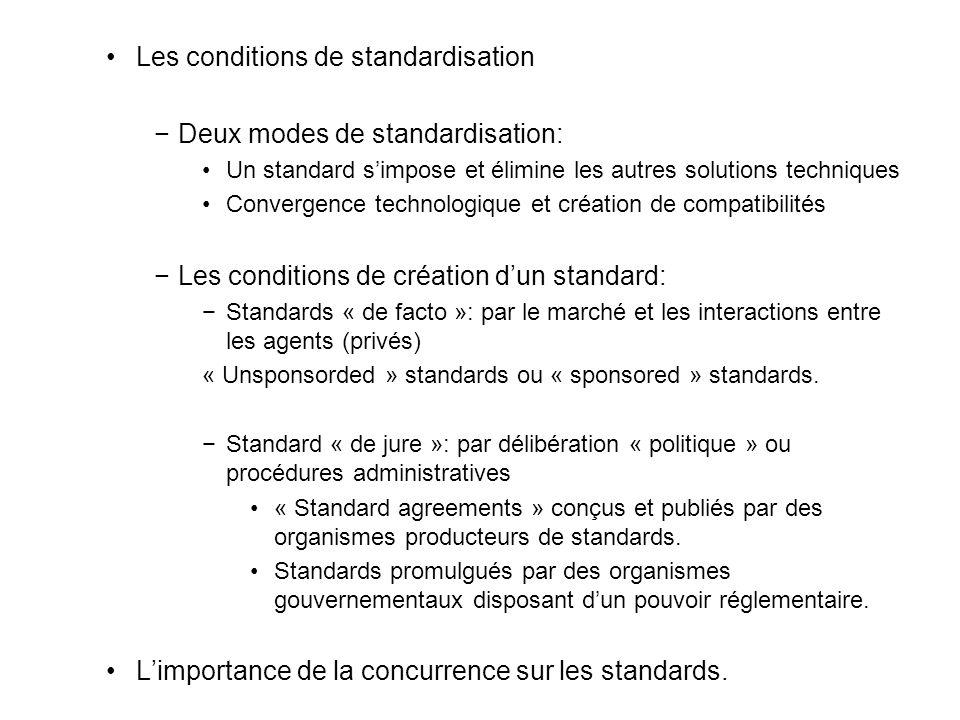 Les conditions de standardisation Deux modes de standardisation: Un standard simpose et élimine les autres solutions techniques Convergence technologique et création de compatibilités Les conditions de création dun standard: Standards « de facto »: par le marché et les interactions entre les agents (privés) « Unsponsorded » standards ou « sponsored » standards.