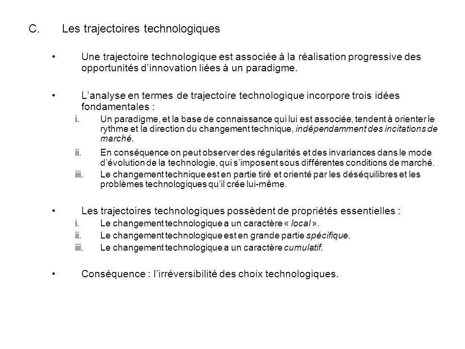 C.Les trajectoires technologiques Une trajectoire technologique est associée à la réalisation progressive des opportunités dinnovation liées à un paradigme.