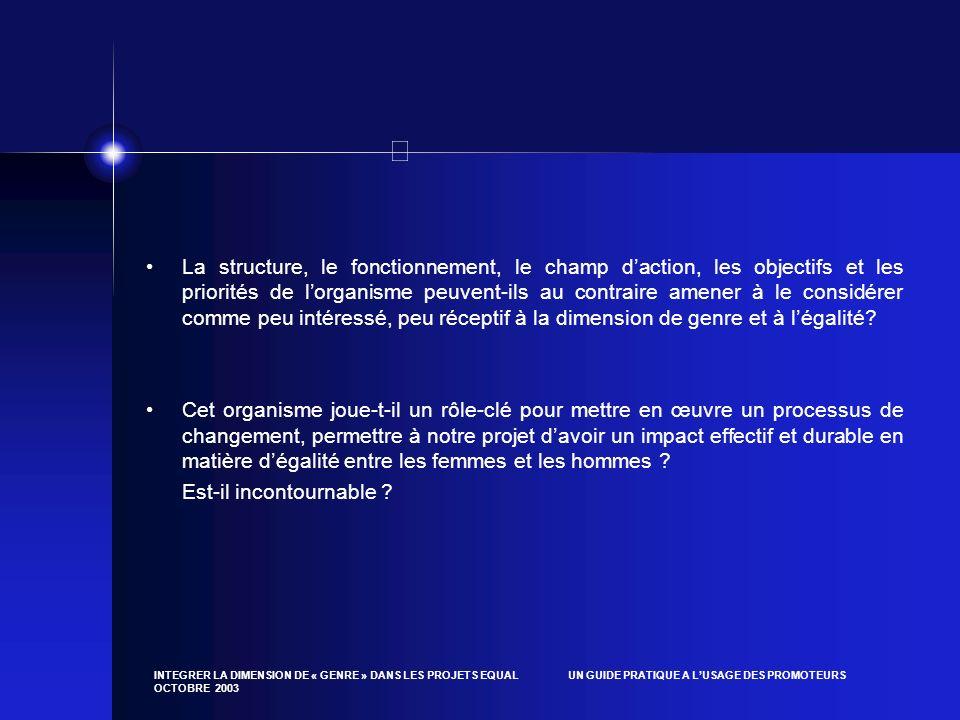 INTEGRER LA DIMENSION DE « GENRE » DANS LES PROJETS EQUAL UN GUIDE PRATIQUE A LUSAGE DES PROMOTEURS OCTOBRE 2003 La structure, le fonctionnement, le c