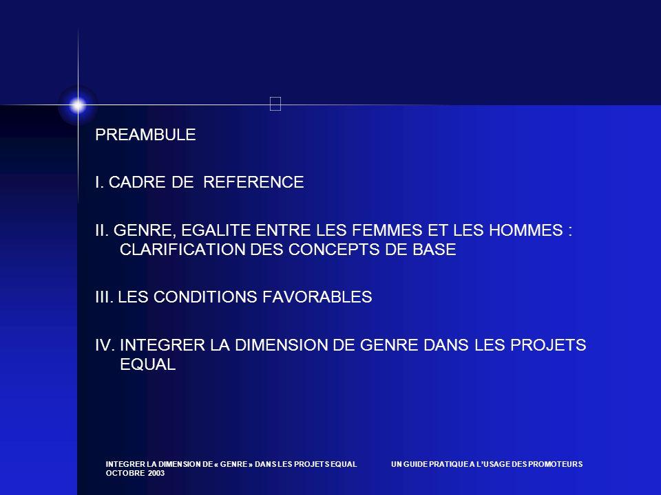 INTEGRER LA DIMENSION DE « GENRE » DANS LES PROJETS EQUAL UN GUIDE PRATIQUE A LUSAGE DES PROMOTEURS OCTOBRE 2003 PREAMBULE I. CADRE DE REFERENCE II. G