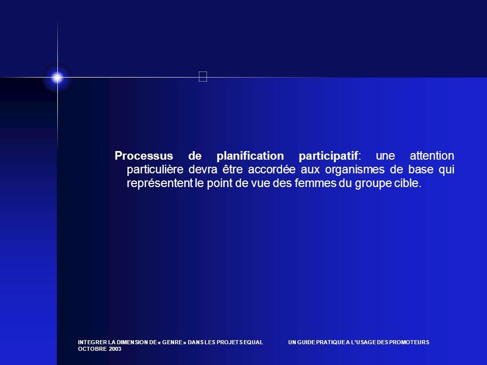 INTEGRER LA DIMENSION DE « GENRE » DANS LES PROJETS EQUAL UN GUIDE PRATIQUE A LUSAGE DES PROMOTEURS OCTOBRE 2003 Processus de planification participat