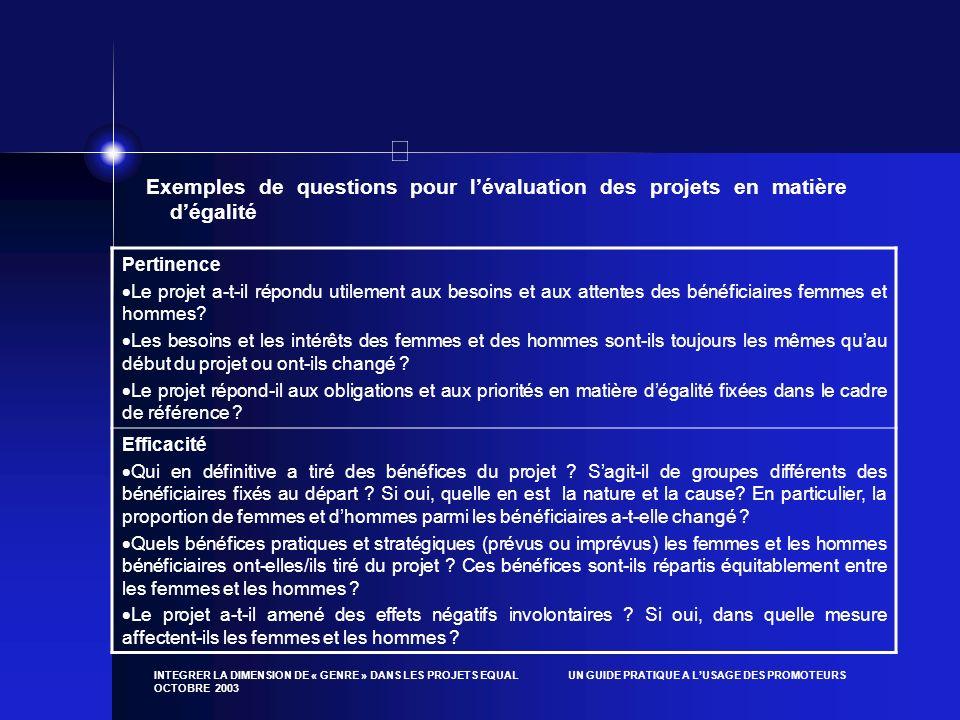 INTEGRER LA DIMENSION DE « GENRE » DANS LES PROJETS EQUAL UN GUIDE PRATIQUE A LUSAGE DES PROMOTEURS OCTOBRE 2003 Exemples de questions pour lévaluatio