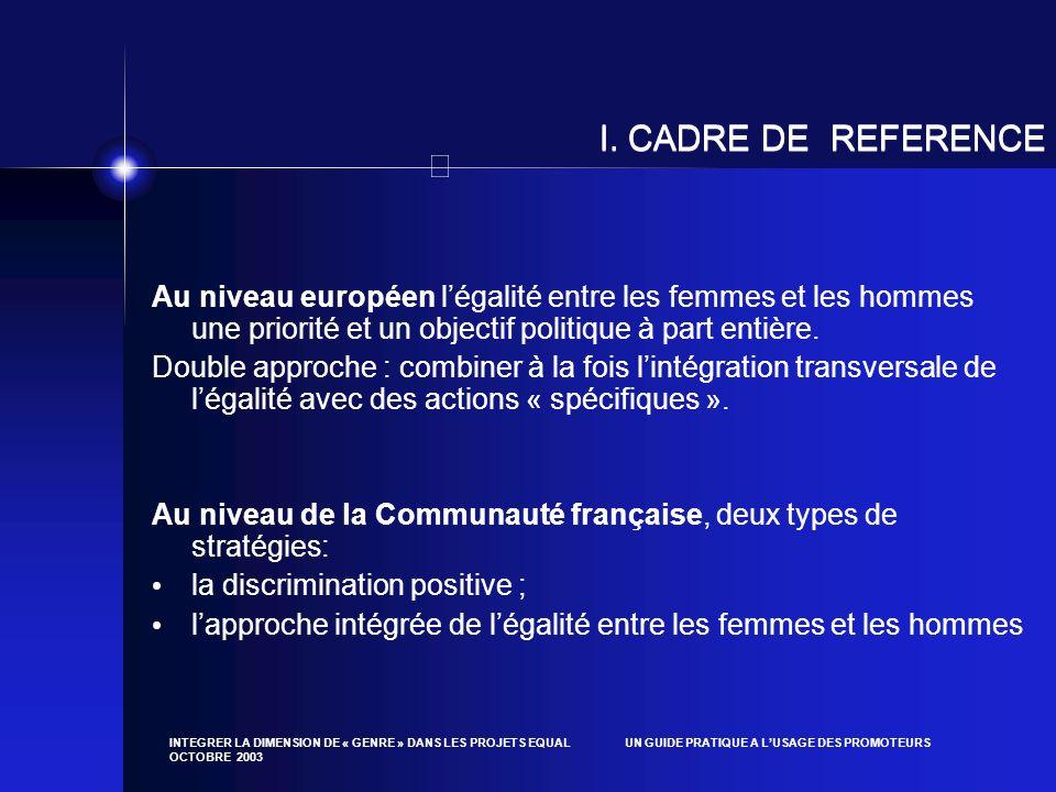 INTEGRER LA DIMENSION DE « GENRE » DANS LES PROJETS EQUAL UN GUIDE PRATIQUE A LUSAGE DES PROMOTEURS OCTOBRE 2003 I. CADRE DE REFERENCE Au niveau europ
