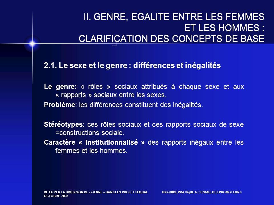 INTEGRER LA DIMENSION DE « GENRE » DANS LES PROJETS EQUAL UN GUIDE PRATIQUE A LUSAGE DES PROMOTEURS OCTOBRE 2003 II. GENRE, EGALITE ENTRE LES FEMMES E
