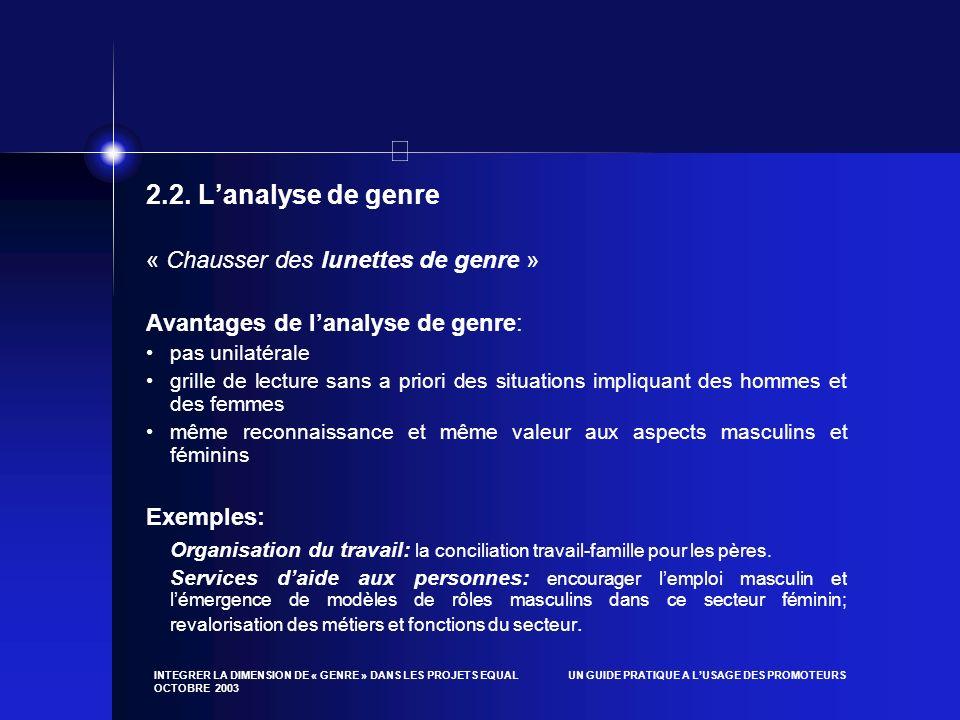 INTEGRER LA DIMENSION DE « GENRE » DANS LES PROJETS EQUAL UN GUIDE PRATIQUE A LUSAGE DES PROMOTEURS OCTOBRE 2003 2.2. Lanalyse de genre « Chausser des