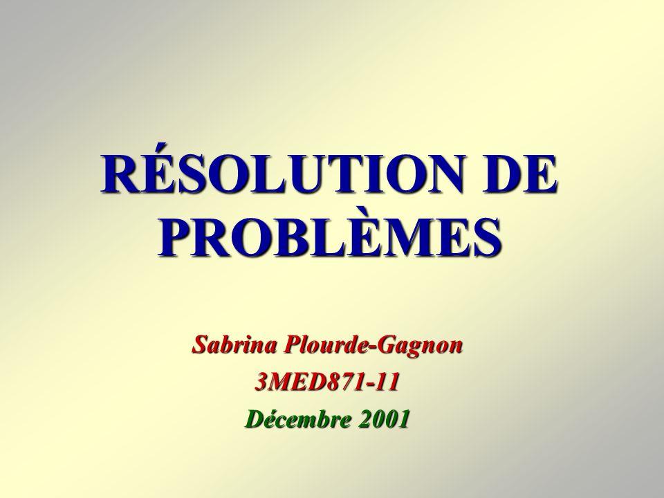 RÉSOLUTION DE PROBLÈMES Sabrina Plourde-Gagnon 3MED871-11 Décembre 2001