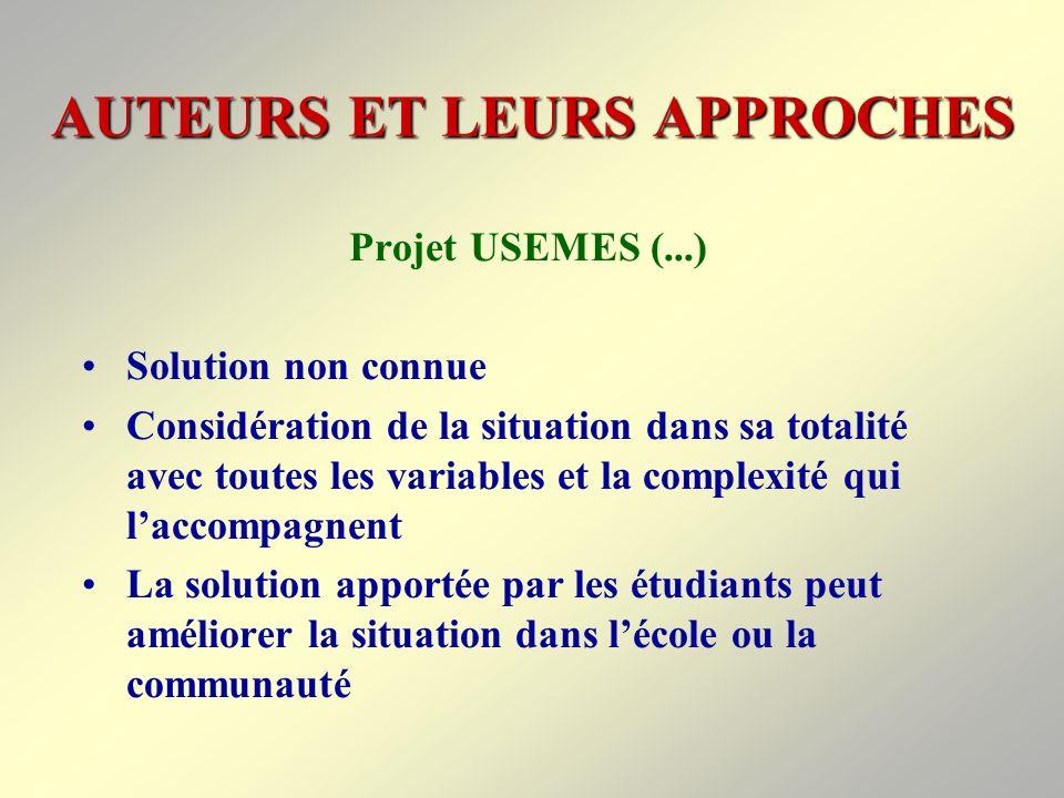 AUTEURS ET LEURS APPROCHES Projet USEMES (...) Bases de la résolution de problèmes Résolution de problèmes liés à la vie quotidienne ou scolaire et habiletés qui doivent être développées à lécole (Modelage)