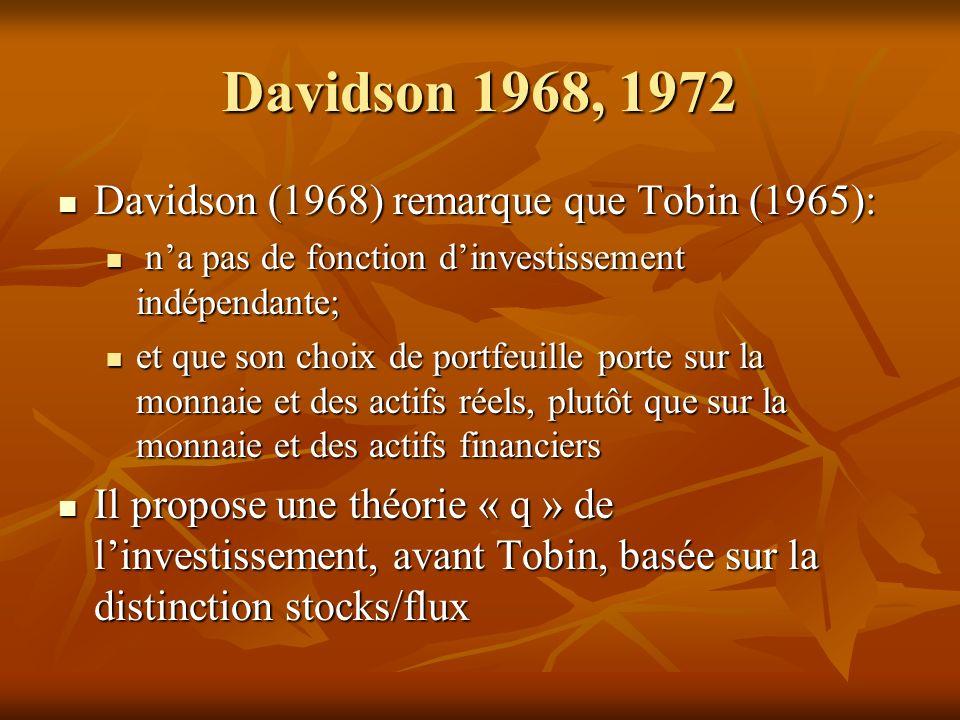 Davidson 1968, 1972 Davidson (1968) remarque que Tobin (1965): Davidson (1968) remarque que Tobin (1965): na pas de fonction dinvestissement indépendante; na pas de fonction dinvestissement indépendante; et que son choix de portfeuille porte sur la monnaie et des actifs réels, plutôt que sur la monnaie et des actifs financiers et que son choix de portfeuille porte sur la monnaie et des actifs réels, plutôt que sur la monnaie et des actifs financiers Il propose une théorie « q » de linvestissement, avant Tobin, basée sur la distinction stocks/flux Il propose une théorie « q » de linvestissement, avant Tobin, basée sur la distinction stocks/flux