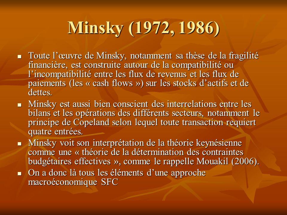 Minsky (1972, 1986) Toute lœuvre de Minsky, notamment sa thèse de la fragilité financière, est construite autour de la compatibilité ou lincompatibilité entre les flux de revenus et les flux de paiements (les « cash flows ») sur les stocks dactifs et de dettes.