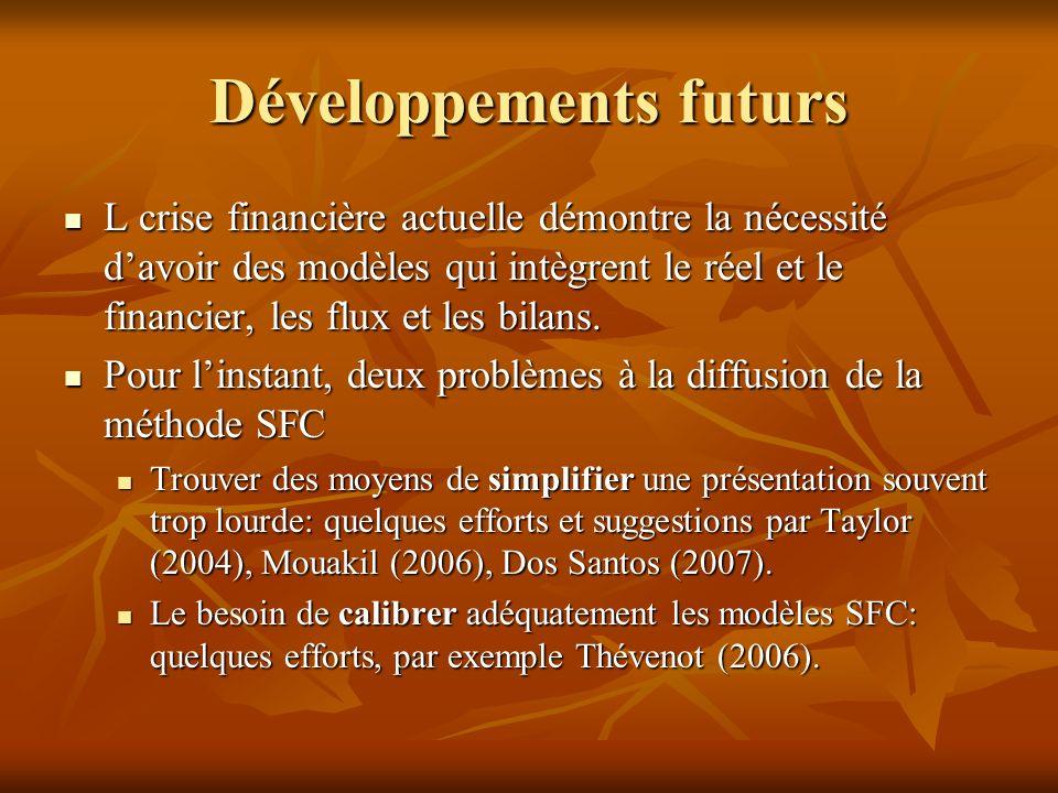 Développements futurs L crise financière actuelle démontre la nécessité davoir des modèles qui intègrent le réel et le financier, les flux et les bilans.