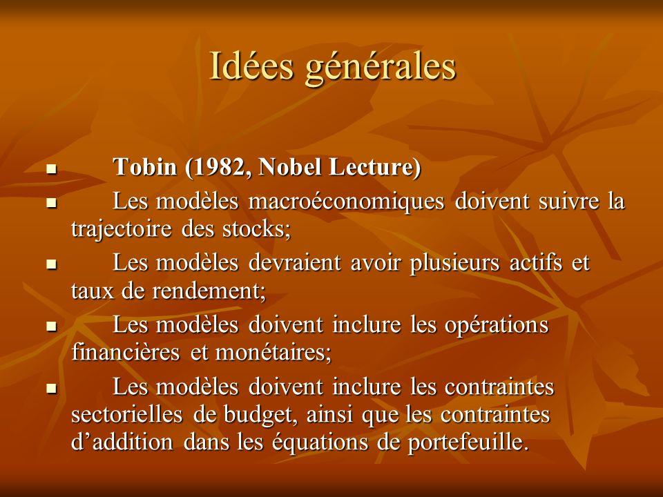Idées générales Tobin (1982, Nobel Lecture) Tobin (1982, Nobel Lecture) Les modèles macroéconomiques doivent suivre la trajectoire des stocks; Les modèles macroéconomiques doivent suivre la trajectoire des stocks; Les modèles devraient avoir plusieurs actifs et taux de rendement; Les modèles devraient avoir plusieurs actifs et taux de rendement; Les modèles doivent inclure les opérations financières et monétaires; Les modèles doivent inclure les opérations financières et monétaires; Les modèles doivent inclure les contraintes sectorielles de budget, ainsi que les contraintes daddition dans les équations de portefeuille.