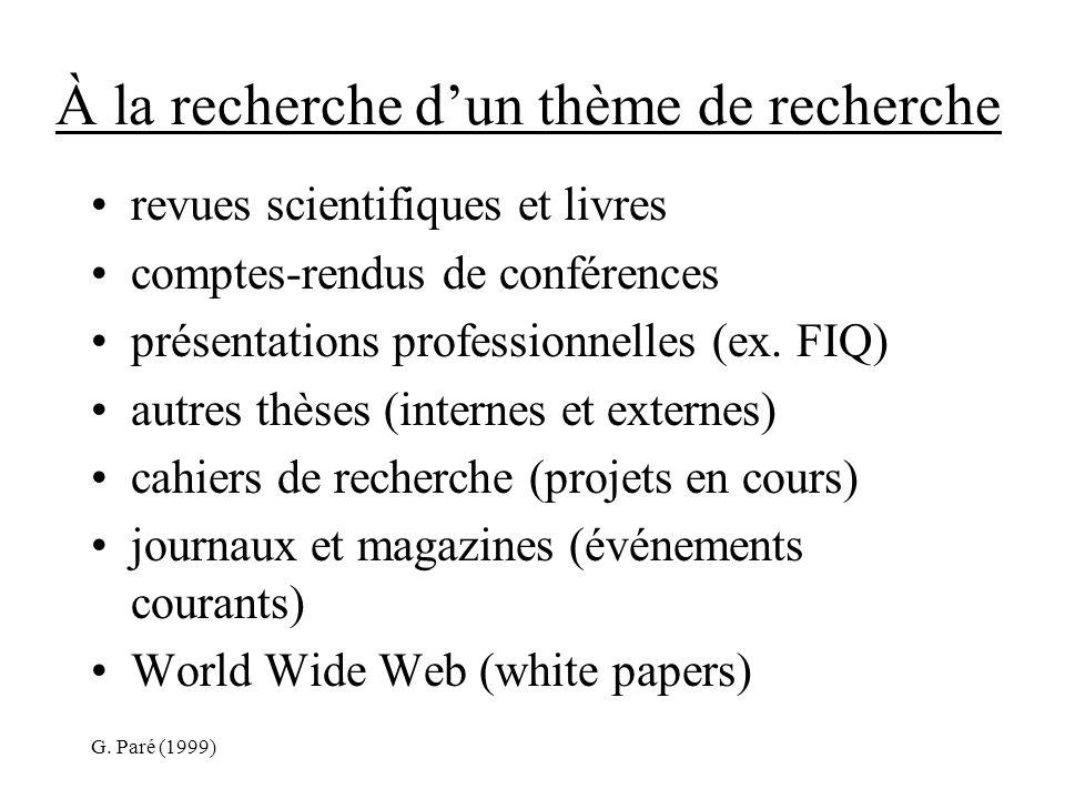 G. Paré (1999) À la recherche dun thème de recherche revues scientifiques et livres comptes-rendus de conférences présentations professionnelles (ex.