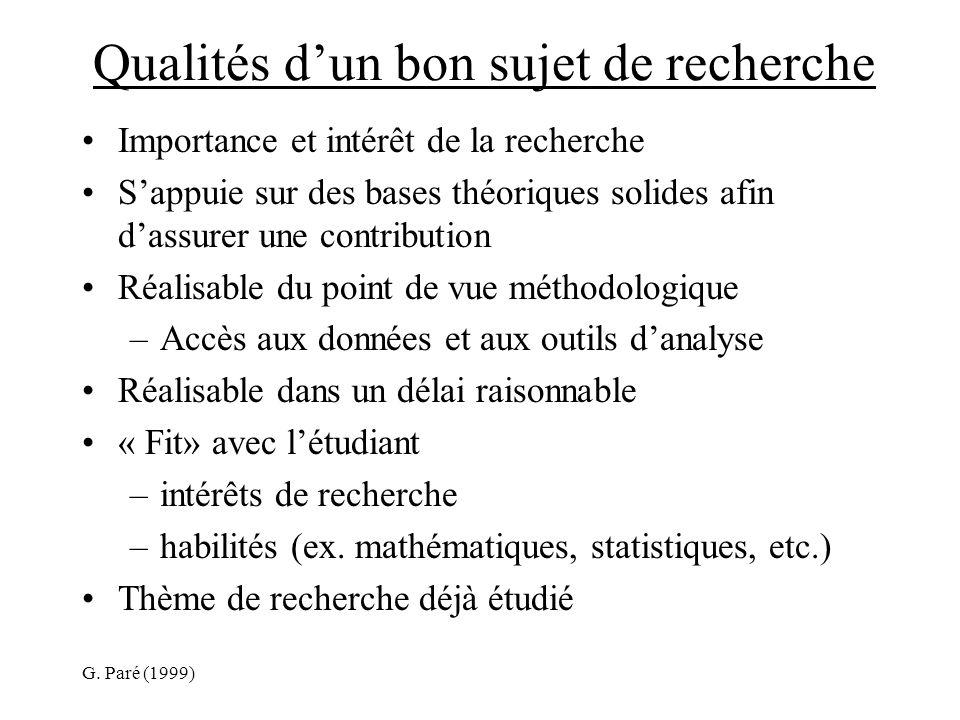 G. Paré (1999) Qualités dun bon sujet de recherche Importance et intérêt de la recherche Sappuie sur des bases théoriques solides afin dassurer une co