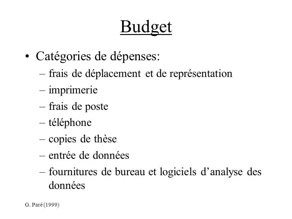 G. Paré (1999) Budget Catégories de dépenses: –frais de déplacement et de représentation –imprimerie –frais de poste –téléphone –copies de thèse –entr