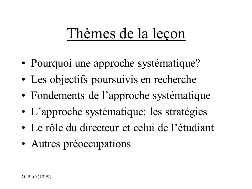 G. Paré (1999) Thèmes de la leçon Pourquoi une approche systématique.