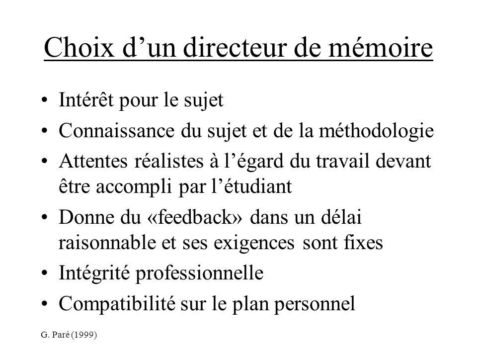 G. Paré (1999) Choix dun directeur de mémoire Intérêt pour le sujet Connaissance du sujet et de la méthodologie Attentes réalistes à légard du travail