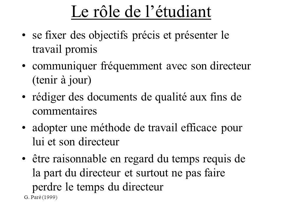 G. Paré (1999) Le rôle de létudiant se fixer des objectifs précis et présenter le travail promis communiquer fréquemment avec son directeur (tenir à j
