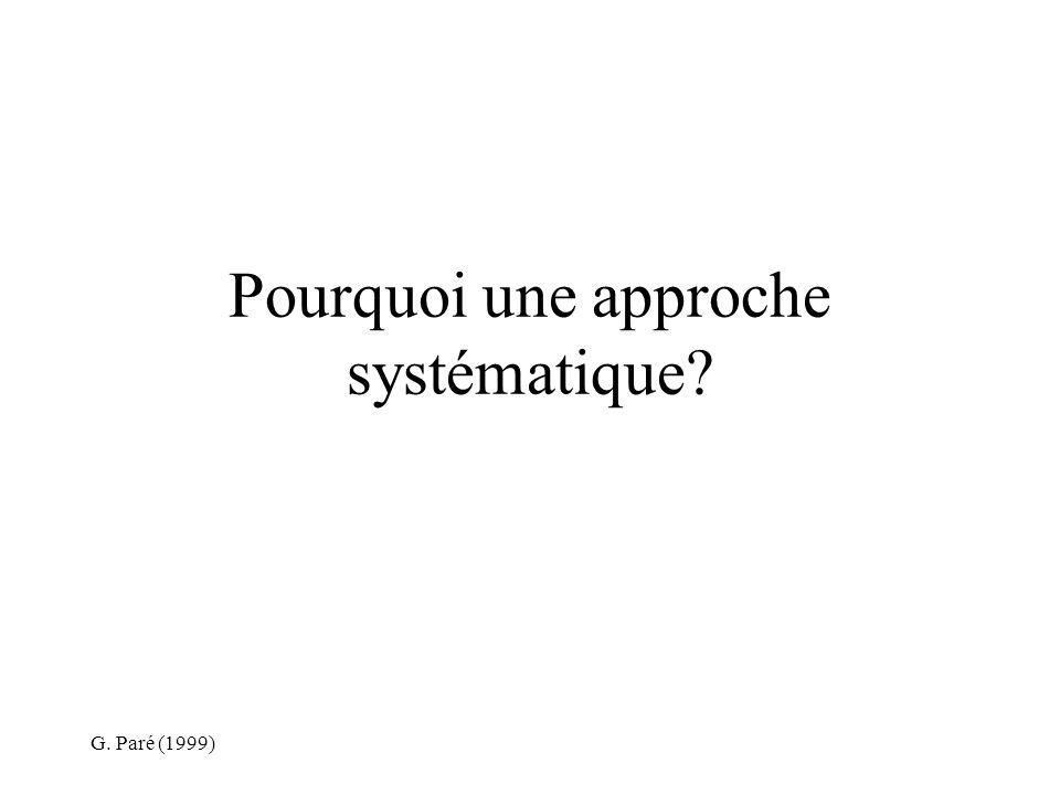G. Paré (1999) Pourquoi une approche systématique