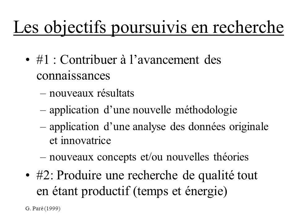 G. Paré (1999) Les objectifs poursuivis en recherche #1 : Contribuer à lavancement des connaissances –nouveaux résultats –application dune nouvelle mé