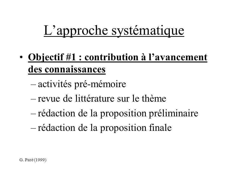 G. Paré (1999) Lapproche systématique Objectif #1 : contribution à lavancement des connaissances –activités pré-mémoire –revue de littérature sur le t