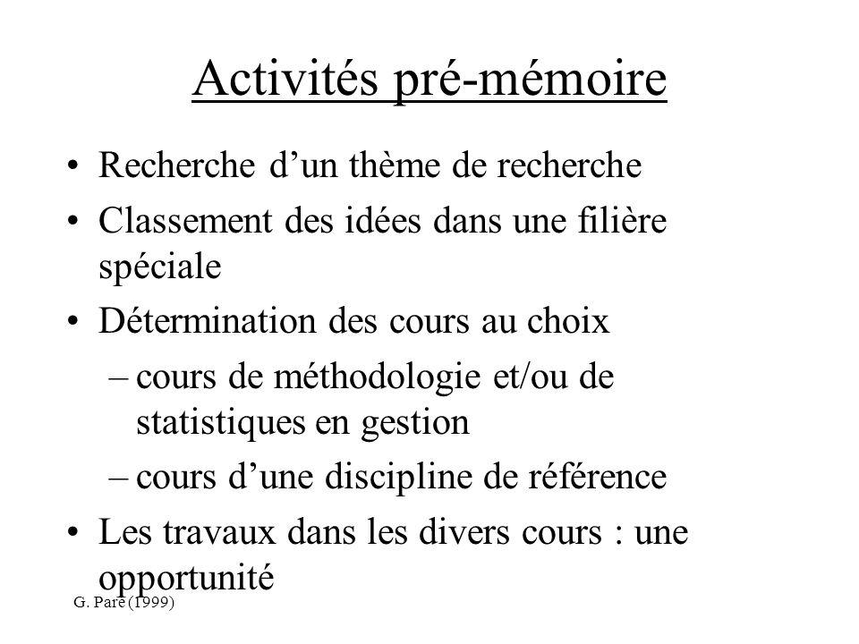 G. Paré (1999) Activités pré-mémoire Recherche dun thème de recherche Classement des idées dans une filière spéciale Détermination des cours au choix