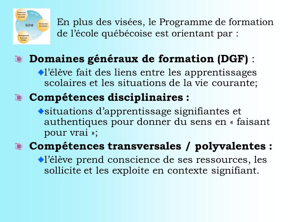 En plus des visées, le Programme de formation de lécole québécoise est orientant par : Domaines généraux de formation (DGF) : lélève fait des liens en