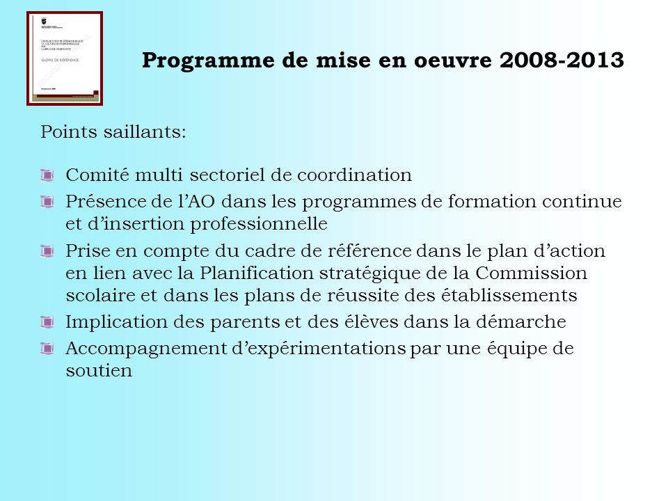 Programme de mise en oeuvre 2008-2013 Points saillants: Comité multi sectoriel de coordination Présence de lAO dans les programmes de formation contin