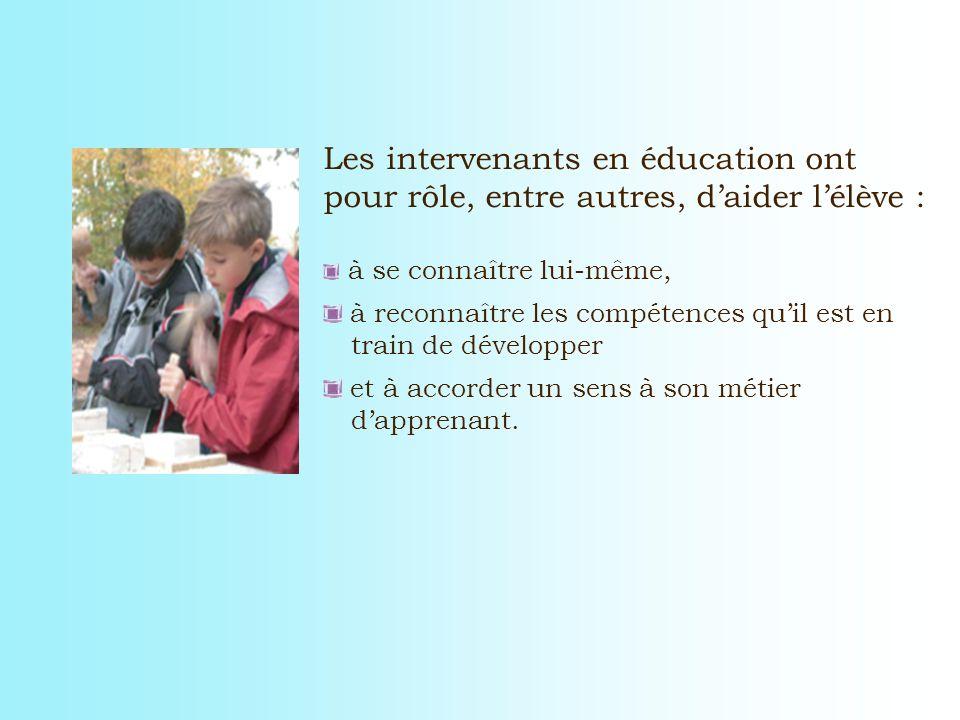 Les intervenants en éducation ont pour rôle, entre autres, daider lélève : à se connaître lui-même, à reconnaître les compétences quil est en train de