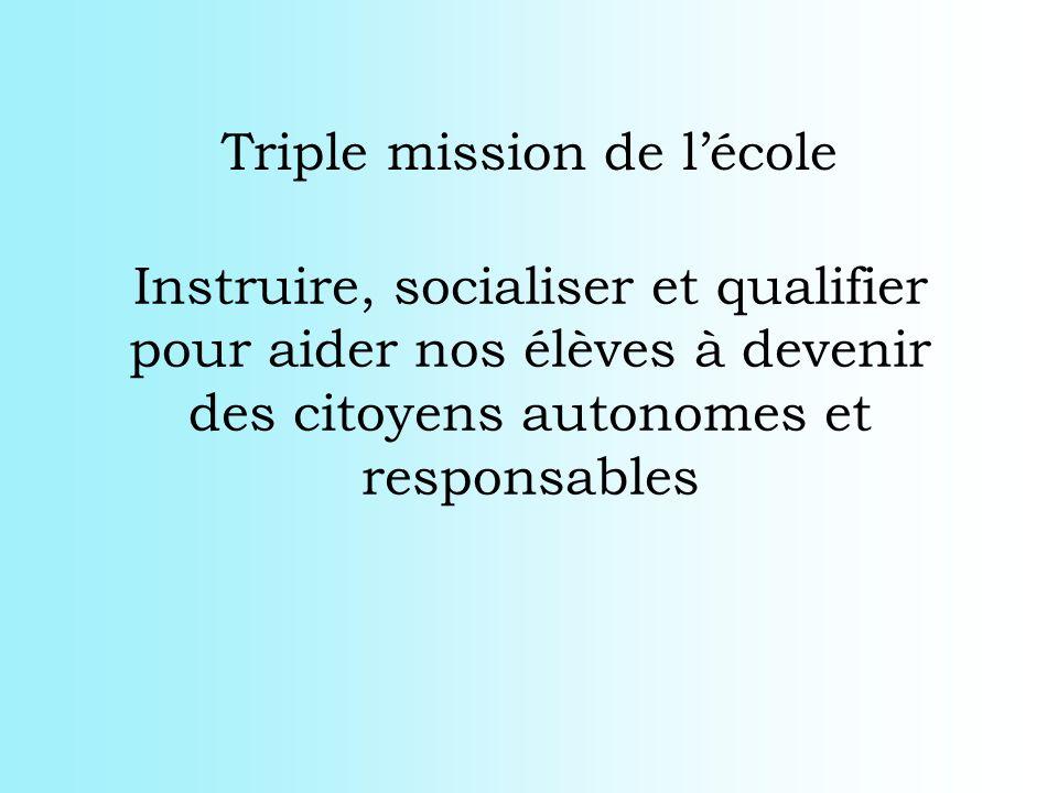 Instruire, socialiser et qualifier pour aider nos élèves à devenir des citoyens autonomes et responsables Triple mission de lécole