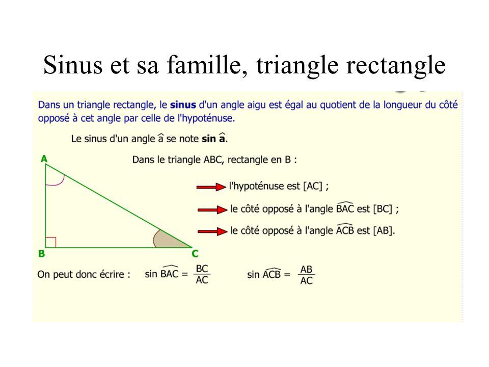 Sinus et sa famille, triangle rectangle