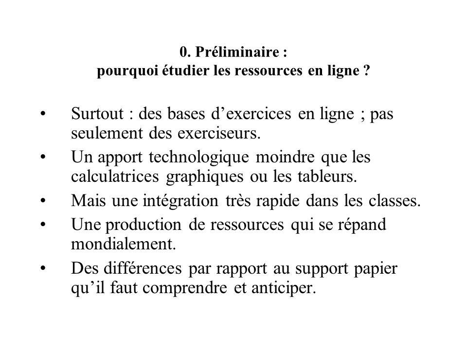 0. Préliminaire : pourquoi étudier les ressources en ligne ? Surtout : des bases dexercices en ligne ; pas seulement des exerciseurs. Un apport techno