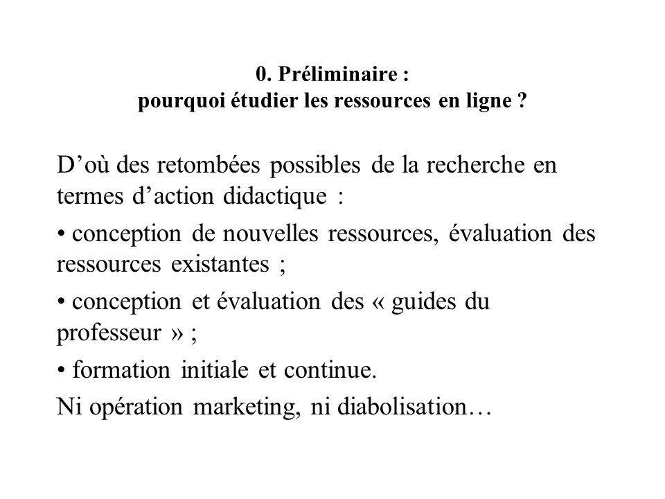 0. Préliminaire : pourquoi étudier les ressources en ligne ? Doù des retombées possibles de la recherche en termes daction didactique : conception de