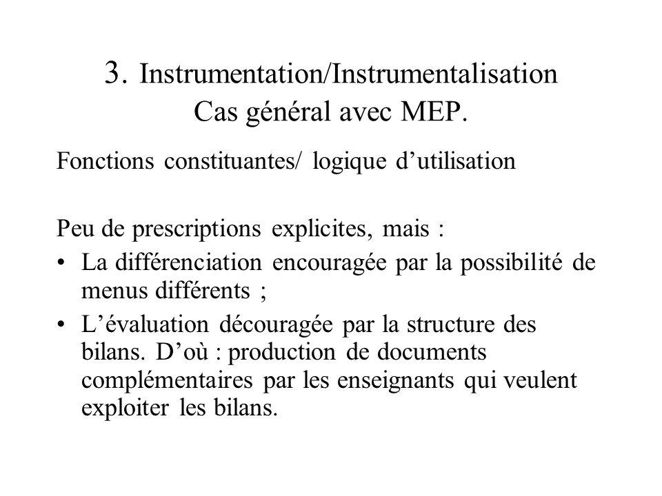 3. Instrumentation/Instrumentalisation Cas général avec MEP. Fonctions constituantes/ logique dutilisation Peu de prescriptions explicites, mais : La