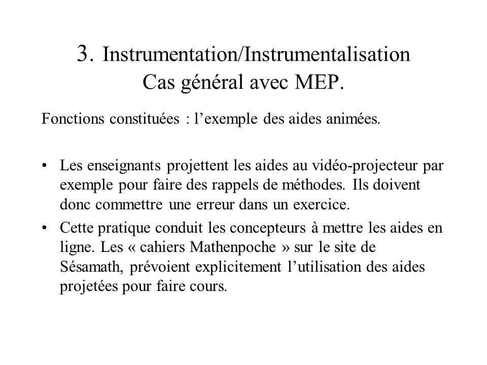 3. Instrumentation/Instrumentalisation Cas général avec MEP. Fonctions constituées : lexemple des aides animées. Les enseignants projettent les aides