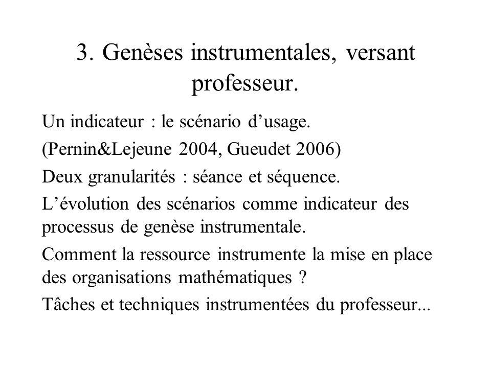 3. Genèses instrumentales, versant professeur. Un indicateur : le scénario dusage. (Pernin&Lejeune 2004, Gueudet 2006) Deux granularités : séance et s