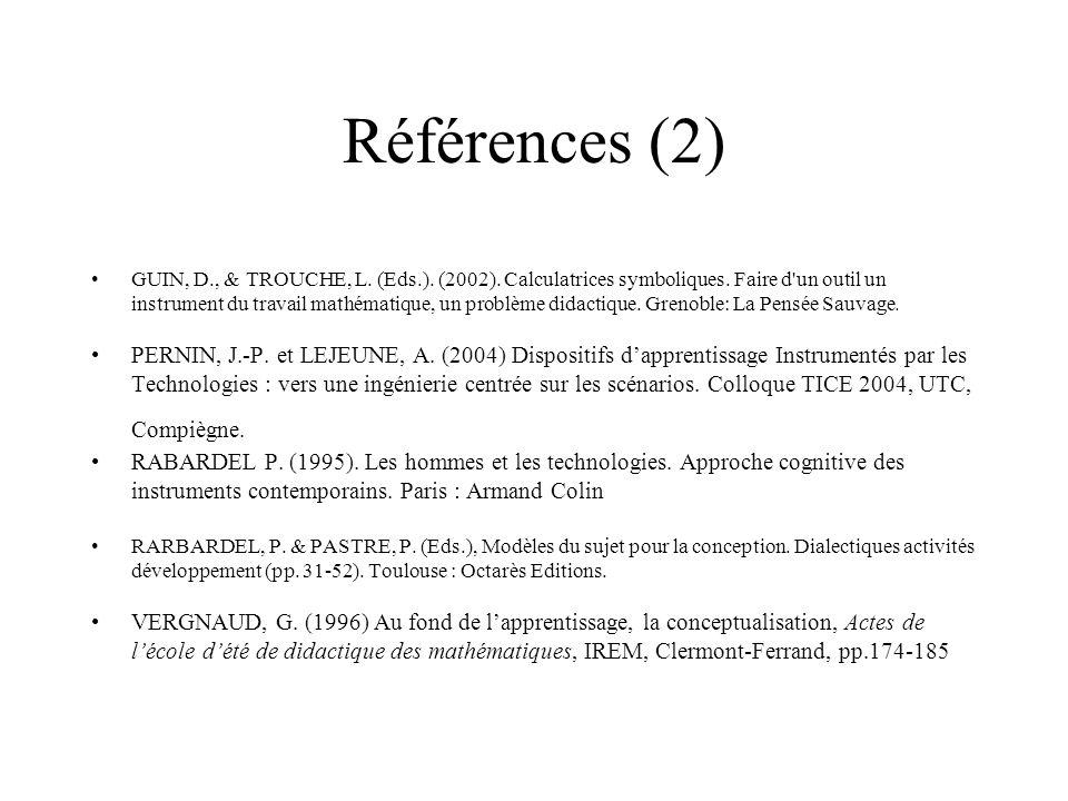 Références (2) GUIN, D., & TROUCHE, L. (Eds.). (2002). Calculatrices symboliques. Faire d'un outil un instrument du travail mathématique, un problème