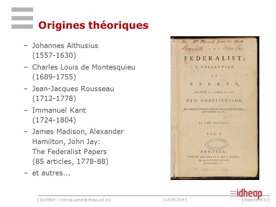 | ©IDHEAP – Andreas.Ladner@idheap.unil.ch | | 18/05/2014 | | Diapositive 11 | Origines théoriques –Johannes Althusius (1557-1630) –Charles Louis de Montesquieu (1689-1755) –Jean-Jacques Rousseau (1712-1778) –Immanuel Kant (1724-1804) –James Madison, Alexander Hamilton, John Jay: The Federalist Papers (85 articles, 1778-88) –et autres...