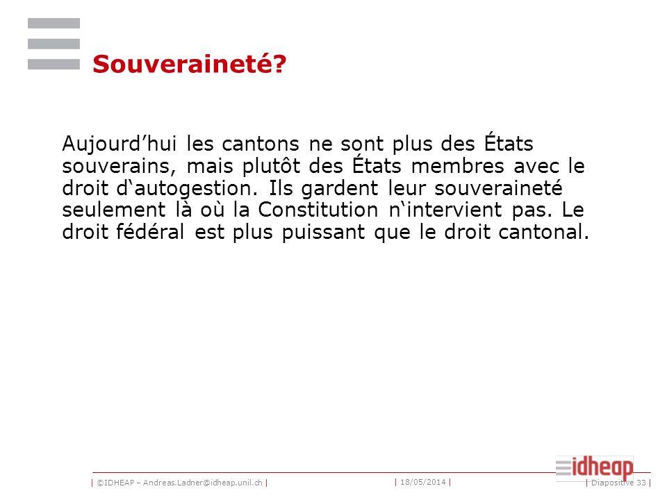 | ©IDHEAP – Andreas.Ladner@idheap.unil.ch | | 18/05/2014 | | Diapositive 33 | Souveraineté.