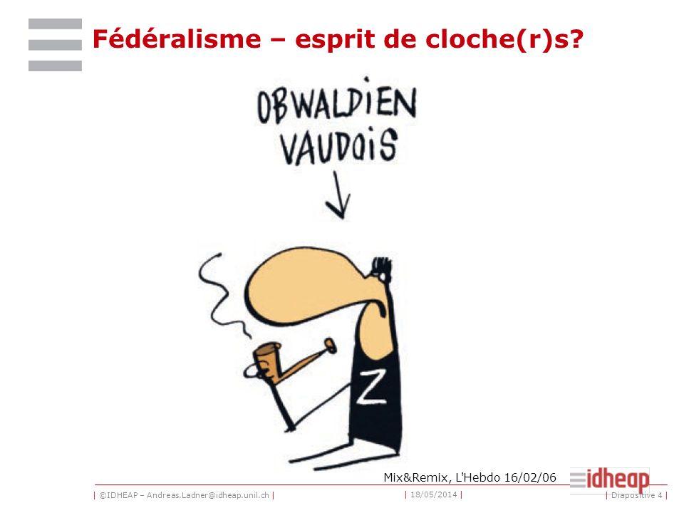 | ©IDHEAP – Andreas.Ladner@idheap.unil.ch | | 18/05/2014 | | Diapositive 4 | Fédéralisme – esprit de cloche(r)s.