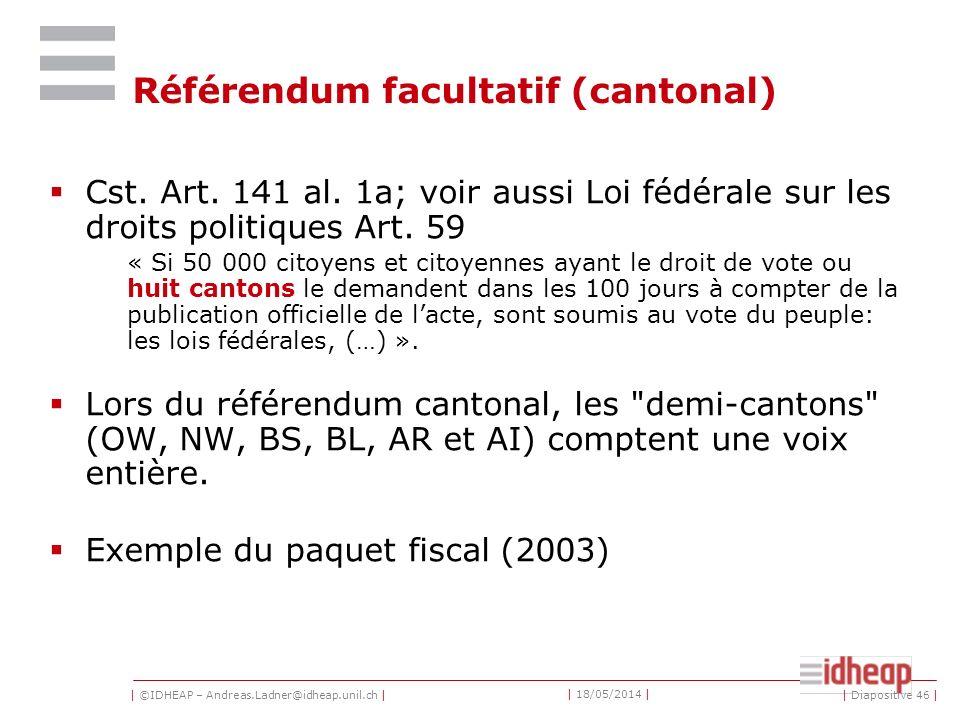 | ©IDHEAP – Andreas.Ladner@idheap.unil.ch | | 18/05/2014 | | Diapositive 46 | Référendum facultatif (cantonal) Cst.