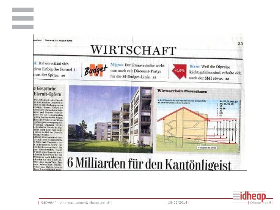 | ©IDHEAP – Andreas.Ladner@idheap.unil.ch | | 18/05/2014 | | Diapositive 5 |